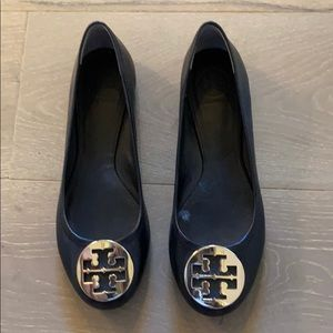 NEW Tory Burch Black Leather Ballet Flat Size 9